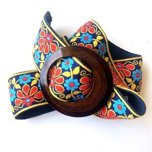 Vintage Embroidered Floral Boho Belt Wooden Buckle
